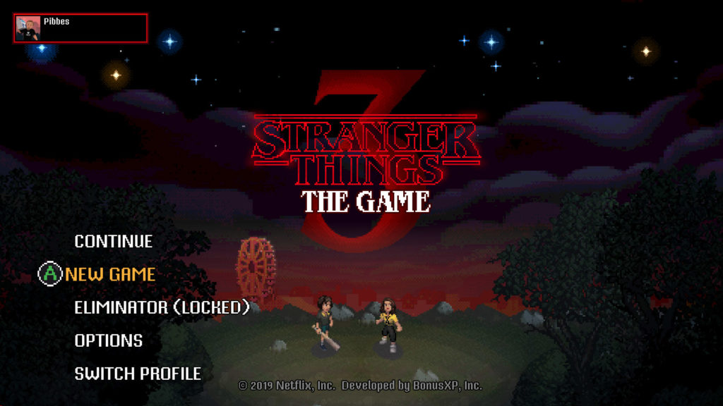 stranger things 3 the game startscherm en mode opties