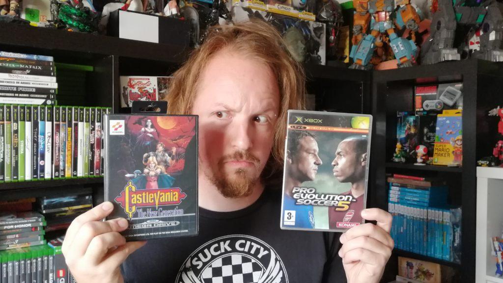 retrogamepapa met twee games bij mn gamecollectie