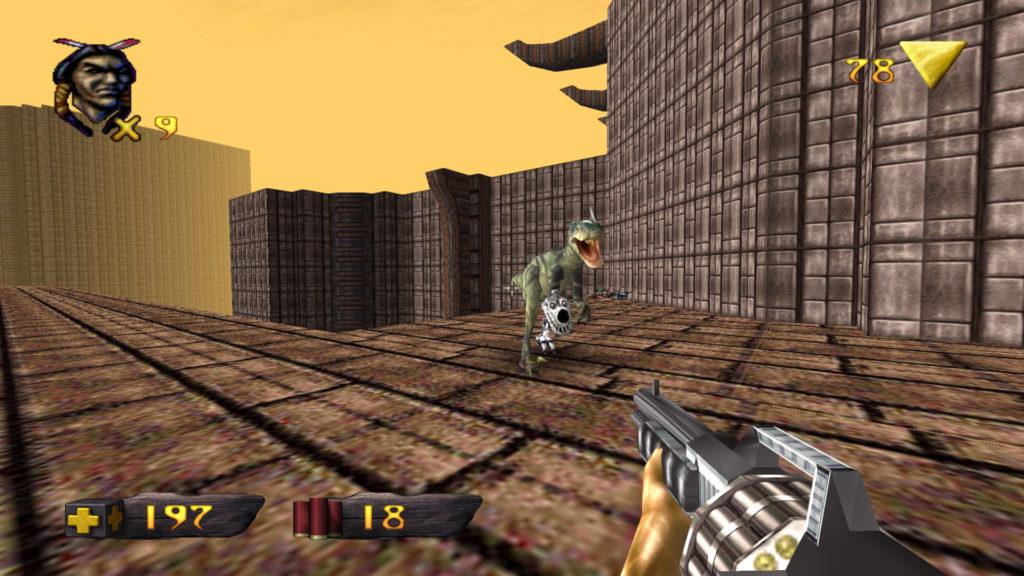 turok dino met geweer raptor with a gun