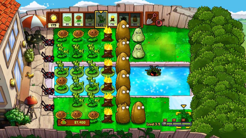 plants vs zombies screenshot dag level met zwembad