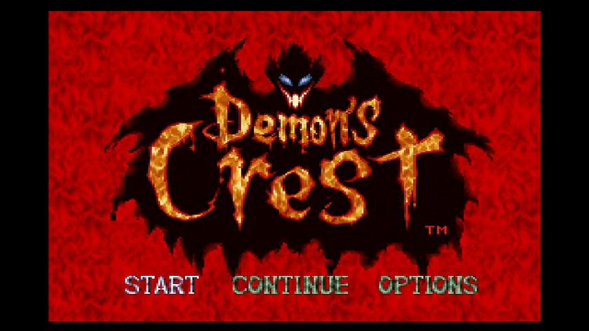 demon's crest logo startscherm