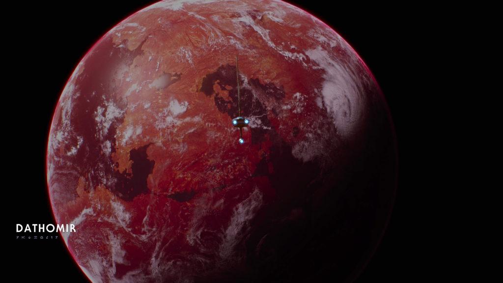 star wars spaceship the mantis komt aan bij planeet Dathomir