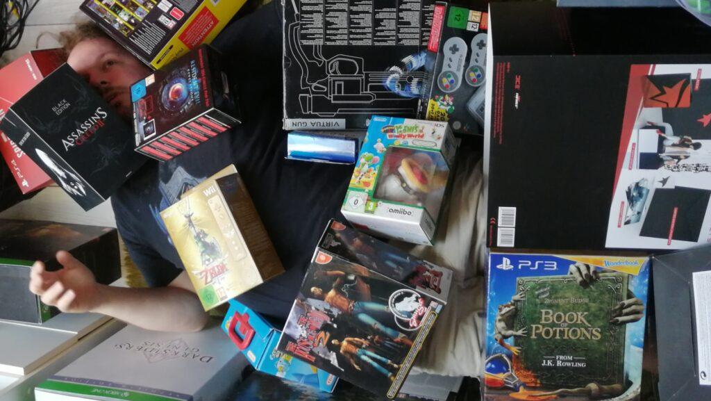 dodelijke gamecollectie Retrogamepapa bedolven console wars