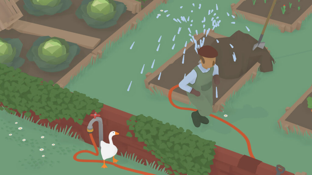 untitled goose game screenshot tuinman irriteren als gans