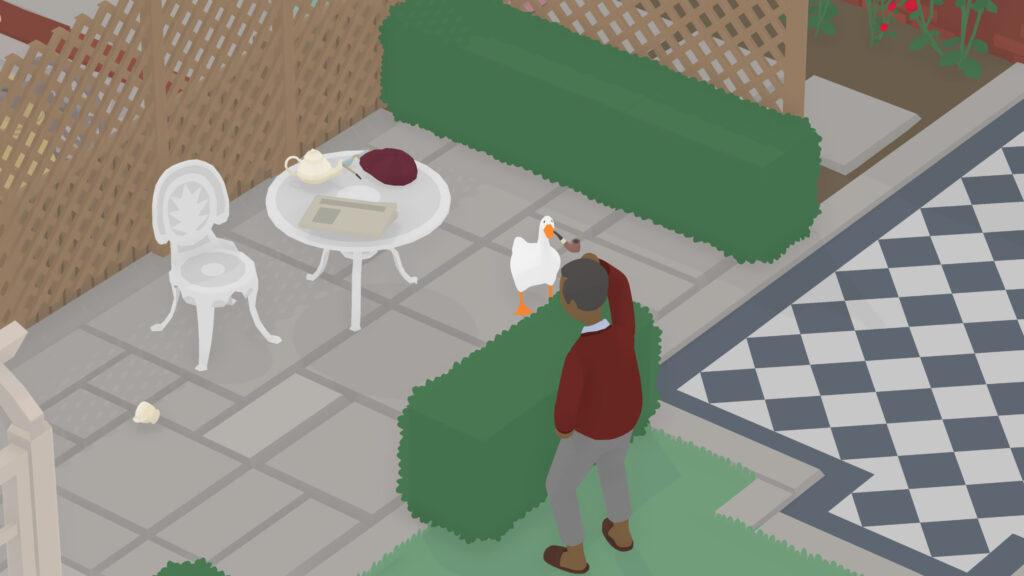 untitled goose game pijp afgepakt van meneer