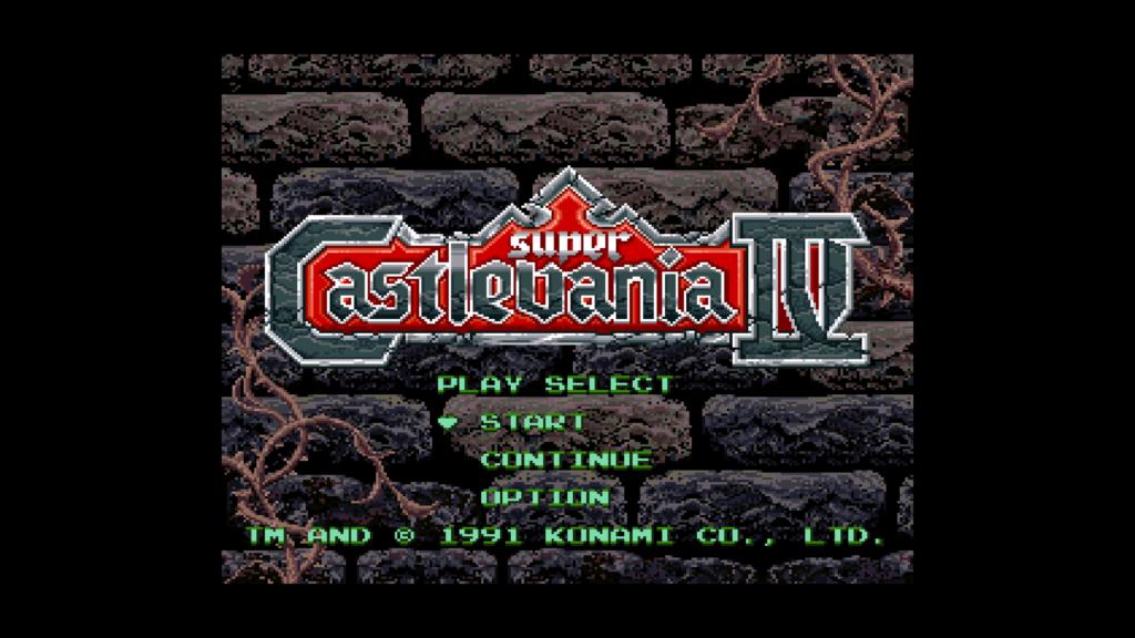 super castlevania IV 4 startscherm logo