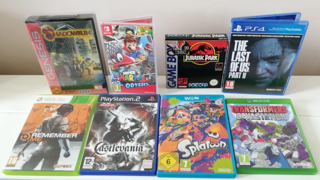 console wars - eclectische rij met games