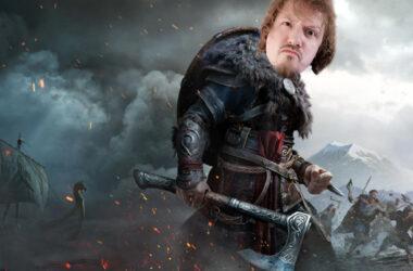 assassins creed valhalla met retrogamepapa's hoofd