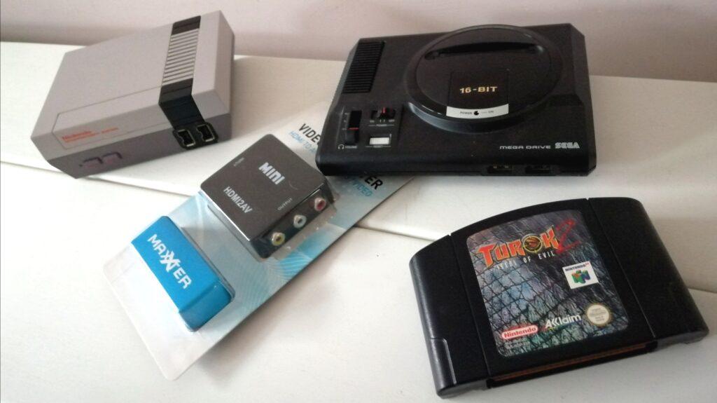 nes en megadrive mini met converter en n64 game