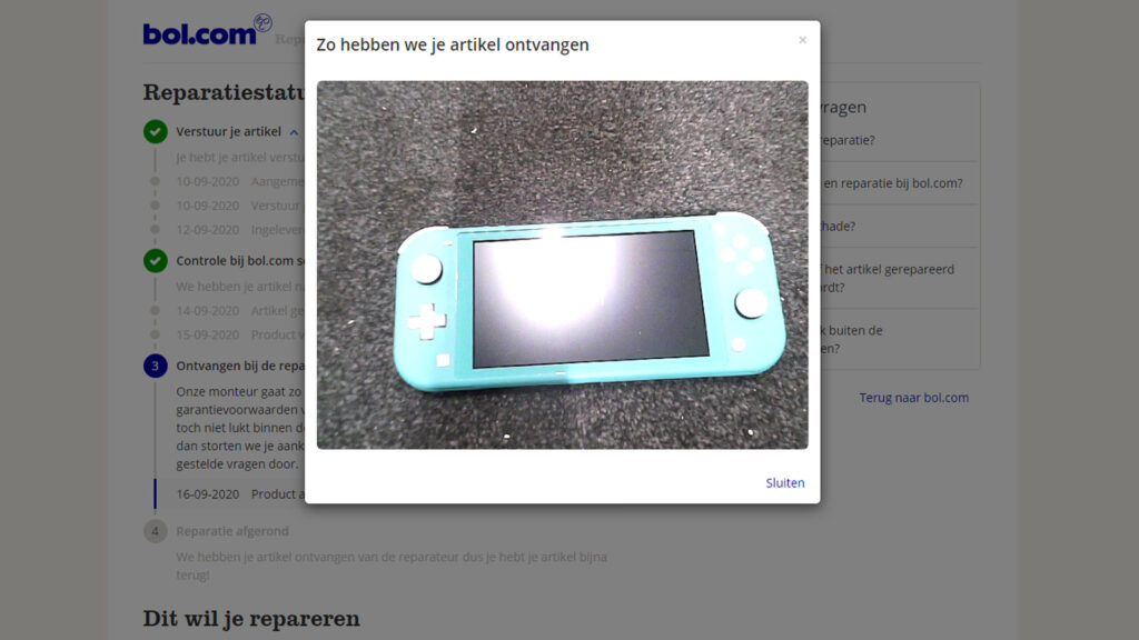 Nintendo Switch Lite bij BOL in reparatie