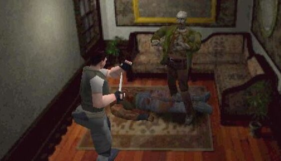 resident evil directors cut ps1 screenshot zombie en Chris
