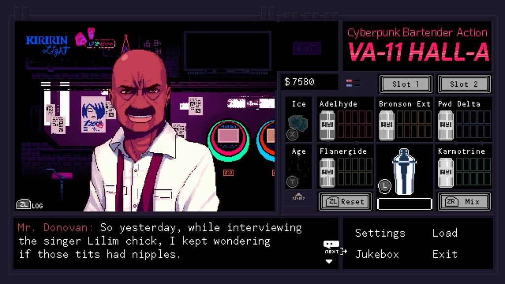 screenshot smeerla[ in de bar valhalla cyberpunk bartender action