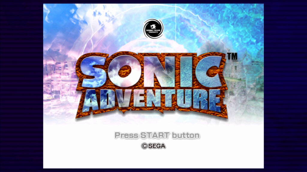 sonic adventure logo startscherm retrogamepapa