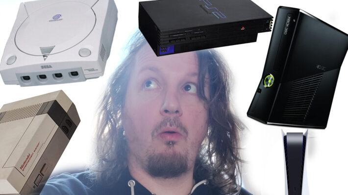 retrogamepapa Peter met consoles om hem heen dreamcast, nes, ps2, xbox 360