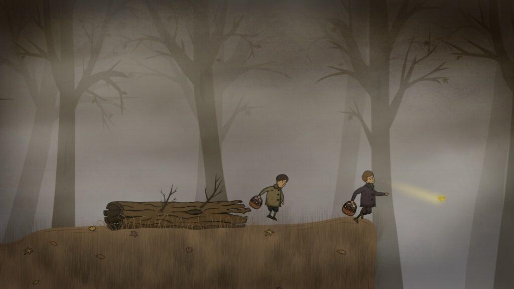 creepy tale intro met vriend paddenstoelen plukken vlinder retrogamepapa